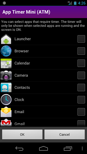 App Timer Mini options